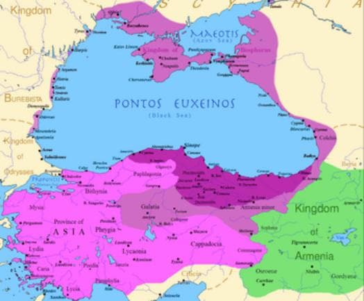 карта на Понтийското царство при управлението на Митридат VI