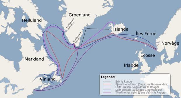 Карта, изобразяваща маршрута на викингските експедиции в Америка