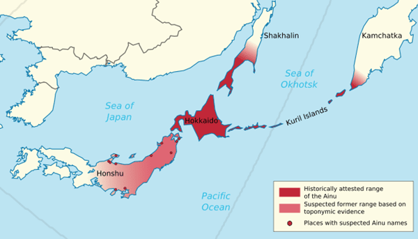 Карта на историческото разпространение на народа айни