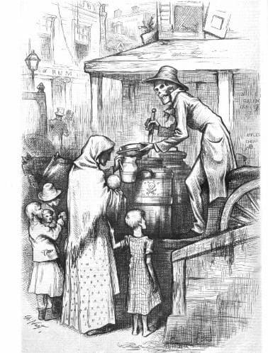Картина, изобразяваща Смъртта, сипваща мляко на американските граждани