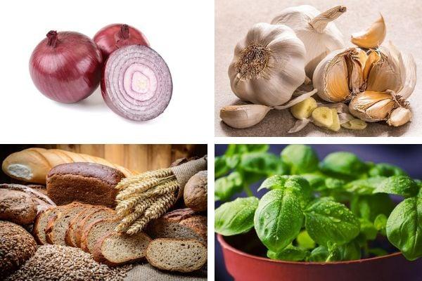 лук, чесън, хляб, билки