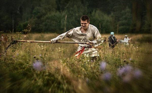 Косене на трева - тренировка