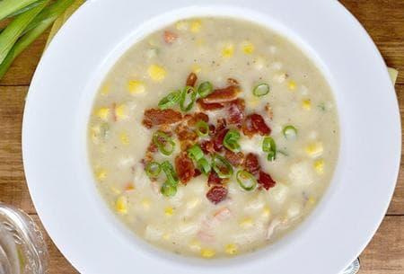 супа с карфиол, царевица и сирене