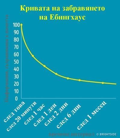 таблица с кривата на забравянето