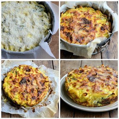 макаронена торта със спанак, сирене и пармезан