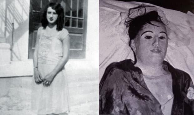 Отляво - снимка на де Хойос, отдясно - нейният мумифициран труп