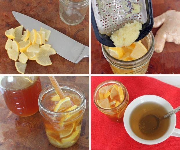 Мед, лимон, джинджифил