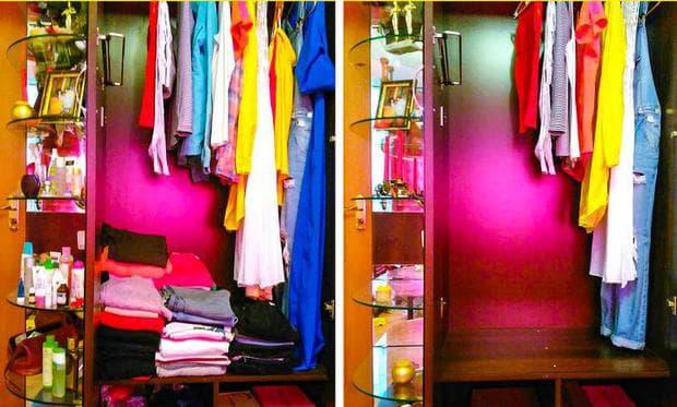 гардероб преди и след