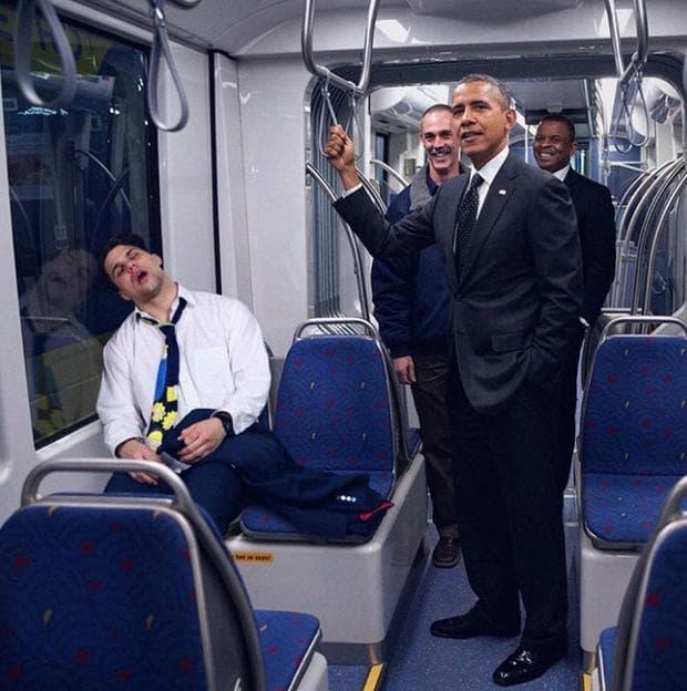 Барак Обама в метрото