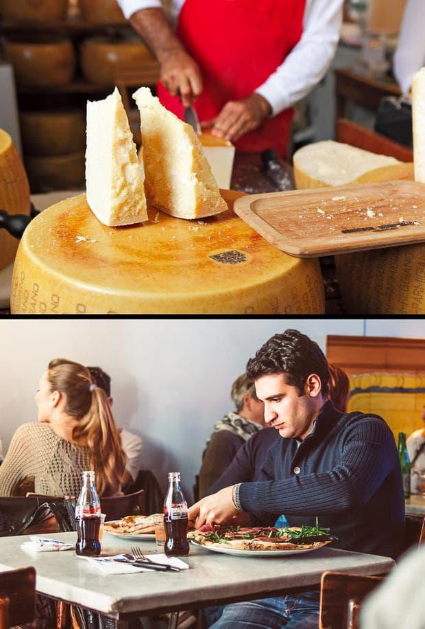 сирене и човек, който яде пица