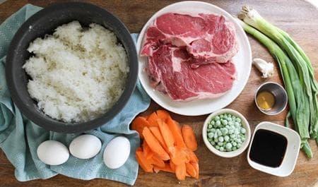 телешко с ориз и зеленчуци