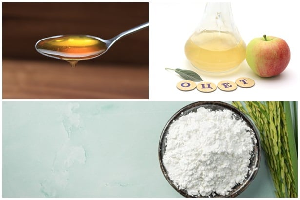 оризово брашно,мед,оцет