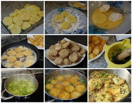 панирани картофи в чеснов бульон