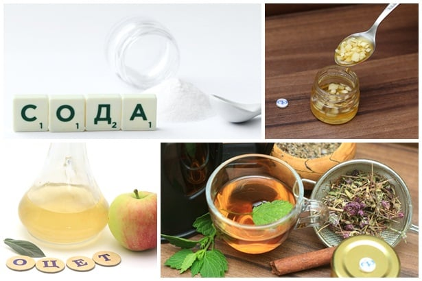 сода,чесън,оцет,билки