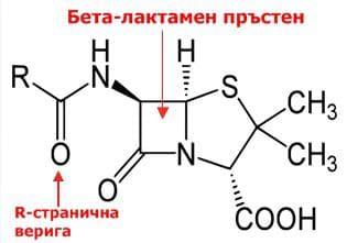 Беталактамен пръстен в молекулата на пеницилина
