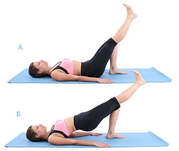Пилатес упражнение - повдигане на таза с изпънат крак в контрашпиц