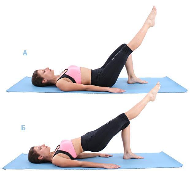 Пилатес упражнение - повдигане на таза с крак в шпиц