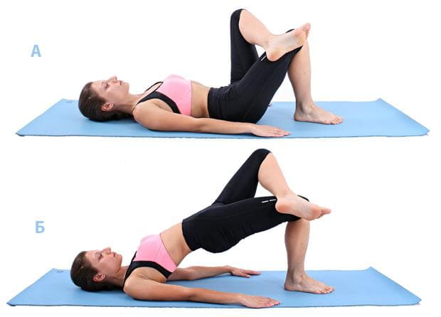 Пилатес упражнение - повдигане на таза с кръстоасан крак