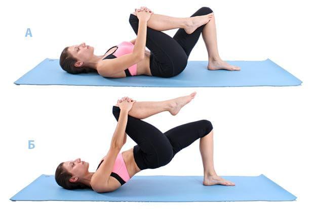 Пилатес упражнение - повдигане на таза с издърпване на коляно