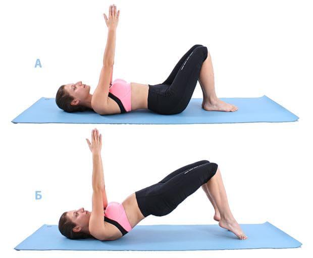 Пилатес упражнение - повдигане на таза с повдигане на пръсти