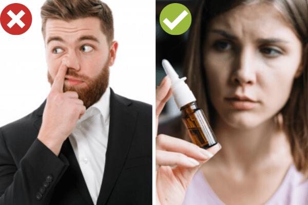 Почистете носа с вода или друго средвство, а не с пръст.