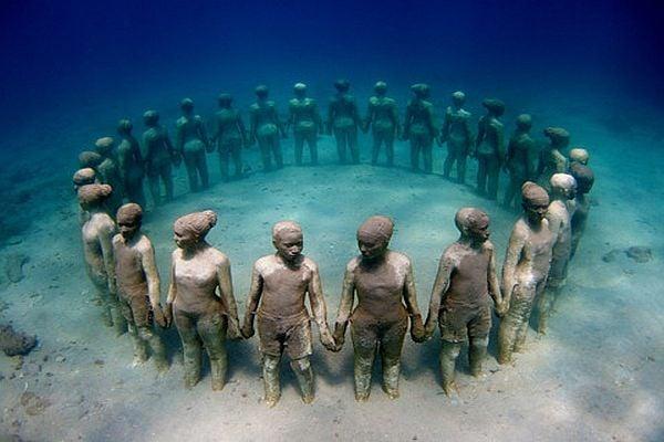 подводен музей, скулптури под водата