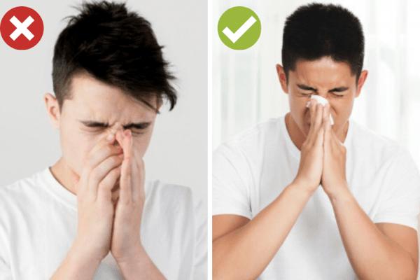 Покрийте устата си със салфетка преди кихане.