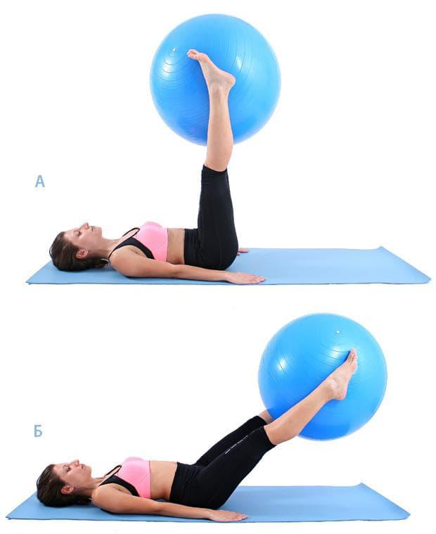 Спускане на фитнес топка с крака