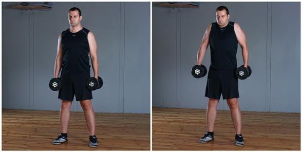 Повдигане на раменете с дъмбели