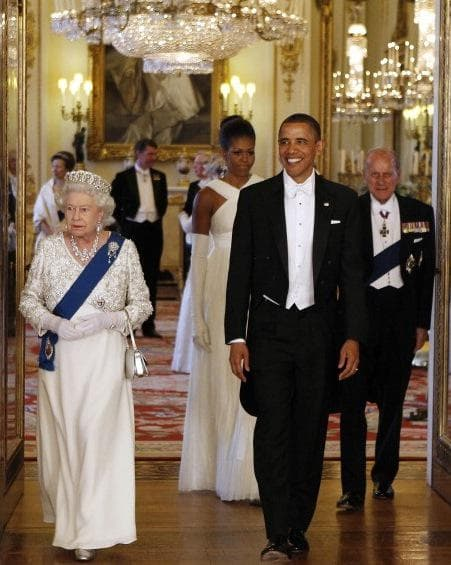 Мишел и Барак Обама на среща с Кралицата