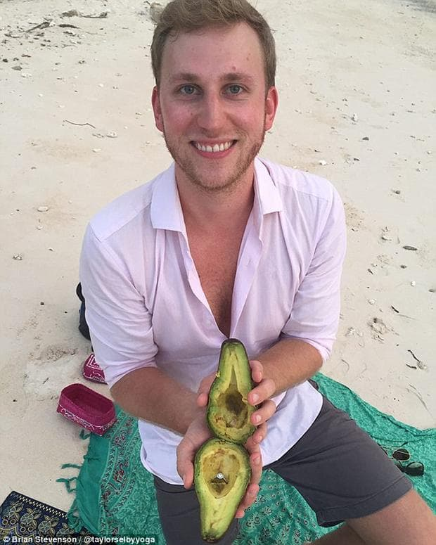 мъж с авокадо