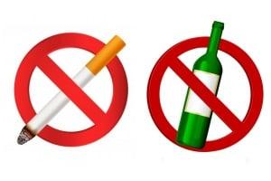 Прекратете употребата на алкохол и никотин
