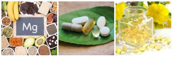 Прием на магнезий, калций, витамин D, масло от вечерна иглика, витекс и други при ПМС