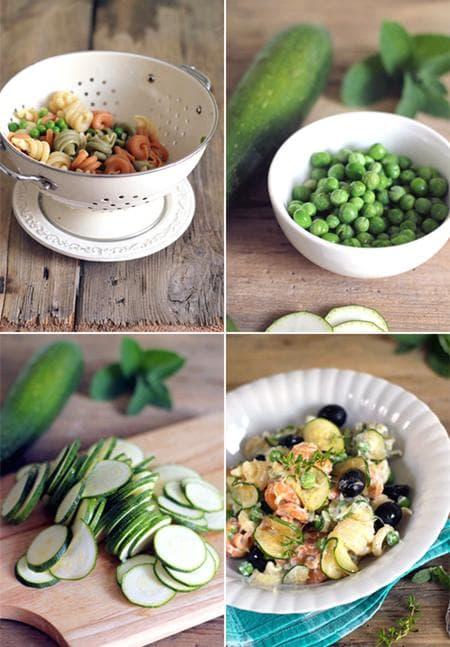 салата с тиквички, макарони и зеленчуци