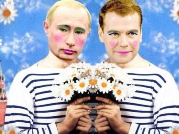 Путин и Медведев като гейове