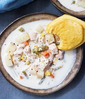 млечна яхния с пиле и зеленчуци