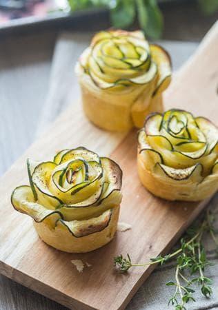 розички от тиквички с крема сирене и мента