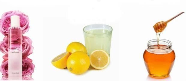 Розова вода, лимонов сок и мляко