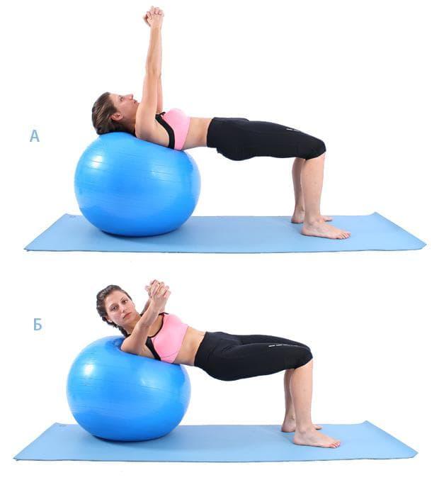 Руско извиване върху фитнес топка