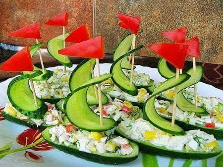 кулинарна декорация с краставица