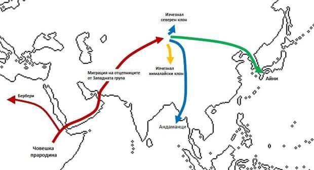 Карта на миграциите на предците на айни