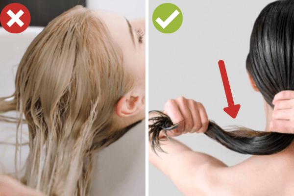 Използвайте малко количество балсам върху сухите и цъфтящи краища на косата.