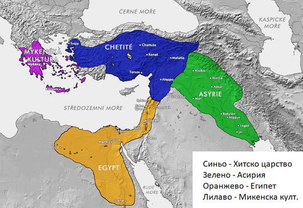карта на Хитското царство в неговия възход