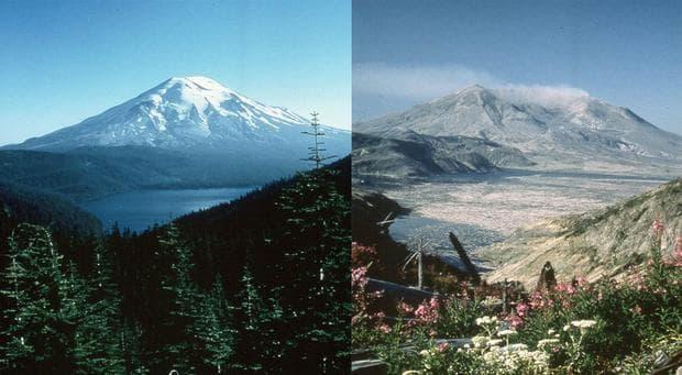 Сейнт хелънс преди и след изригването
