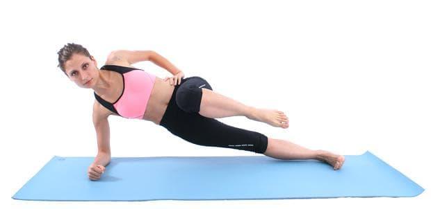 Страничен планк със сгъване на коляно