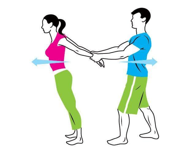 Стречинг за двама за гърди и ръце