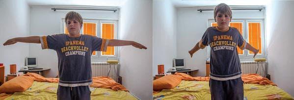 сутрешна гимнастика за деца - изпъване на ръцете наад