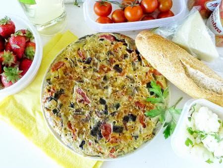 тортиля с патладжани и зеленчуци