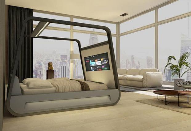 легло с вграден телевизор