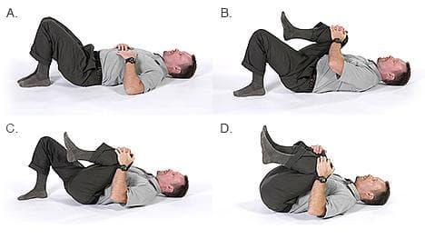 Стречинг с изтегляне на коляно към гърдите